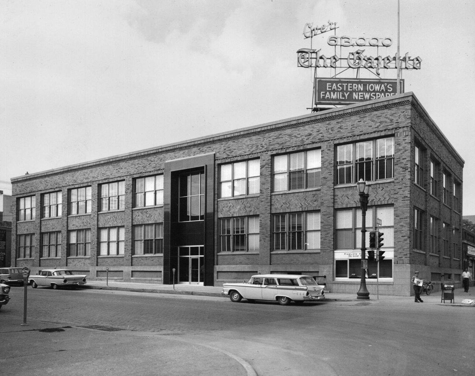 The Gazette has been locally owned for more than 130 years. Little caption information available in this July 1960 photo, showing The Gazette building, constructed in 1925, at 500 Third Avenue SE in Cedar Rapids.