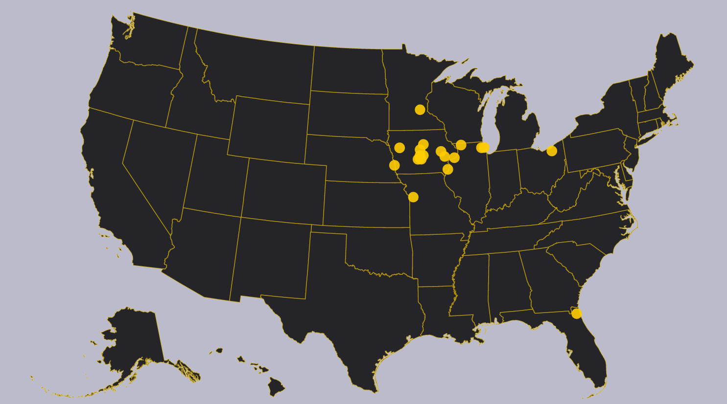 Iowa Football Recruiting map