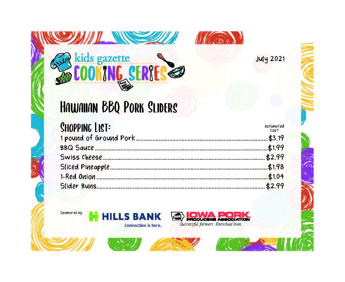 Hawaiian BBQ Port Sliders shopping list