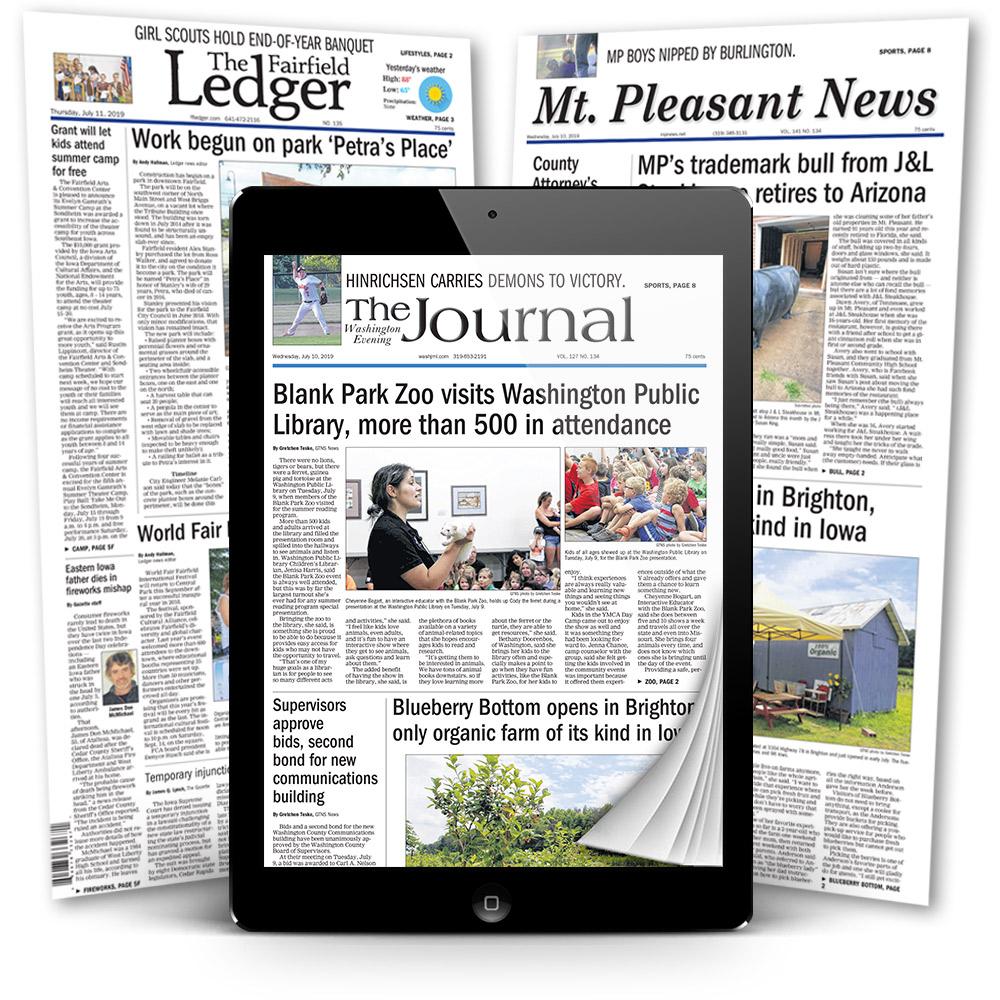 digital editions of the Washington Journal, Mt. Pleasant News, Fairfield Ledger